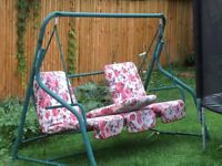 Hammock and rose cushions, used