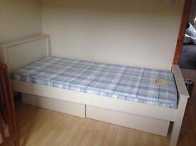 Children's white bed and mattress
