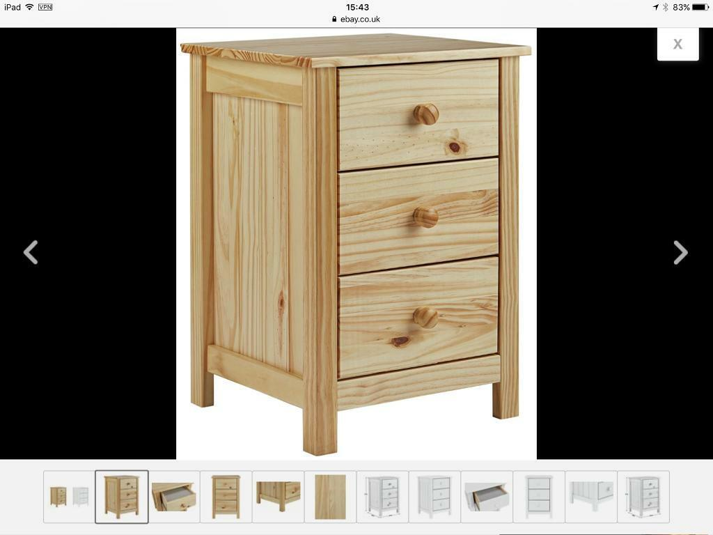 50b1ddf3490 Argos Home New Scandinavia 3 Drawer Bedside Chest- pine FIRST £30 its YOURS
