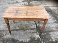 PINE TABLE ON TURNED LEGS BOARDED TOP
