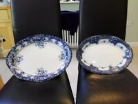 Pair of Antique Large Serving Platters - In good condition for age