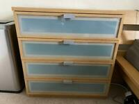 2 Ikea Hopen glass front dressers chest of drawers