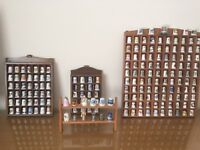 THIMBLES 182 IMMACULATE world collection some rare. Complete with all wood display storage units