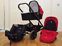 JOIE CHROME PUSHCHAIR + JOIE CHROME CARRYCOT + JOIE GEMM INFANT CAR SEAT