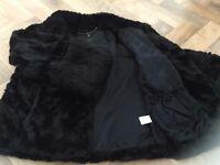 Coast Short Black 3/4 Length Sleeves Faux Fur Jacket (Excellent Condition)