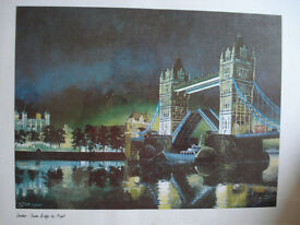 Tower Bridge by Night Painting – S T Baker