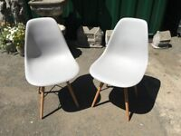 Pair Of Stylish Modern Dining Chairs In Off White - Kitchen - Diner