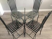 Dining Room Glass Table + 4 Chairs