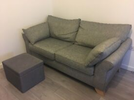 1 year old Harvey's grey sofa with foot stool