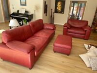 Sofa, large chair and footstool Leather
