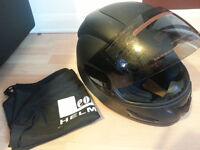 LEOPARD Solid Matt Black Motorcycle Helmet Full Face Scooter Motorbike size S