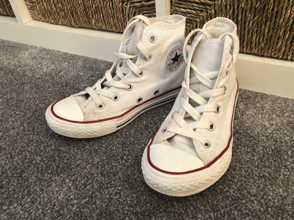 0112bec45f4f Children s kids unisex white hi top converse trainers shoes pumps size UK 10