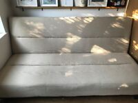 Sofa - Bed, Double Fold out beige/cream style hardly used