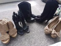 Ladies new size 7 heeled boots and shoes
