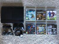 PS3 Super Slim 500GB + 1 controller + 6 games + all cables