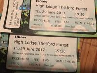 2 x Elbow Tickets - Thetford Forest