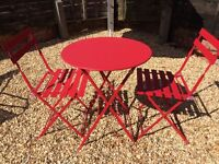 Bistro outdoor table and chair set John Lewis raspberry red