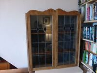 Old Oak leaded cupboard with leaded glass and locking key