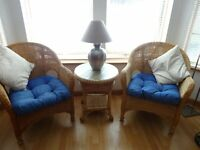 Lovely cane armchairs and side table