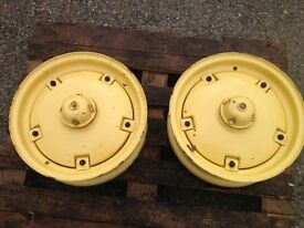 French&Hecht Tractor Wheels - suit Massey Harris Front (Pair) Rims Hub Weights - Vintage