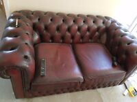 Leather sofa suite, oxblood chesterfield