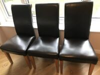 Brown leather/oak frame dining chairs