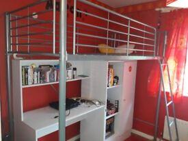 Silver high sleeper bed frame