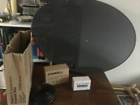 Sky/Freesat dish with Quad LNB,mounting brackets 20m twin cable and Sat finder - new boxed