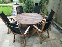 Indian Ocean Henley Garden table & 6 Folding Chairs (good condition)