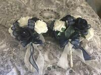 Matching bridesmaid bouquets navy ivory handmade artificial