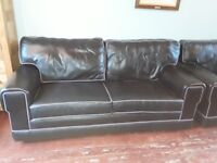Three piece black leather suite