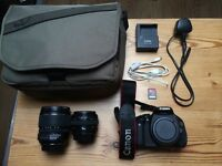 Canon EOS 600d DSLR + Canon EF-S 15-85mm f/3.5-5.6 IS USM + Canon EF 50mm f/1.4 USM + Accessories