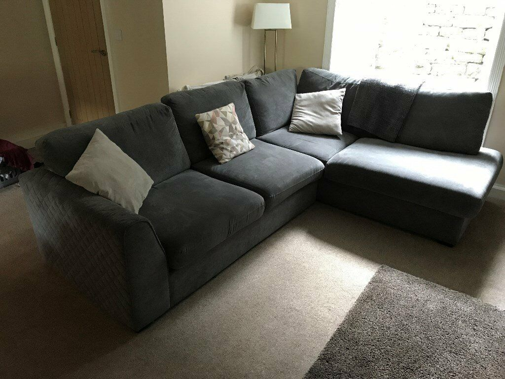 Astaire Left Hand Facing Arm Open End Corner Sofa Graphite Grey