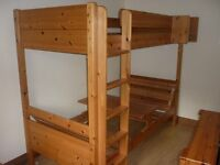 Pine Bunks Beds with optional double sofa and table