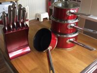 Morphy Richards set of pans RED good as new
