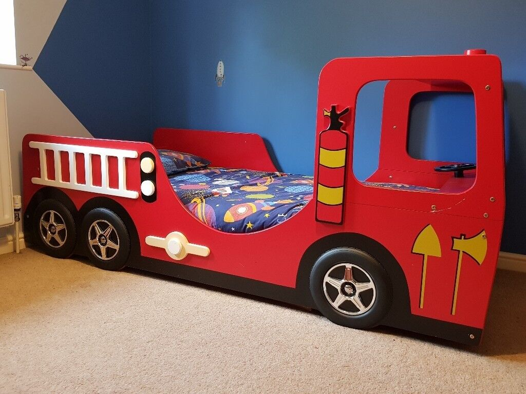 Bed Haani Fire Engine Single Bed Frame Turning Steering Wheel