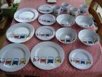 Just Kampers Melamine (plastic) 19 Piece Dinner Set with VW Campervan Design