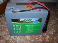 TOR Haze 18-22Ahr trolley battery in perfect condition, with a 4amp charger & carrier..