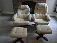 2 designer recliner swivel chair with stools