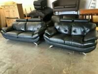 Black leather 2&2 sofa set