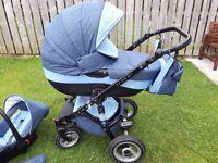 Riko Brano 3 in 1 baby pram stroller in Denim Blue, like new condition