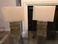 2 mirrored glitter table lamps