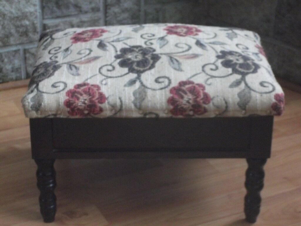 Small Tapestry Covered Footstool With Storage