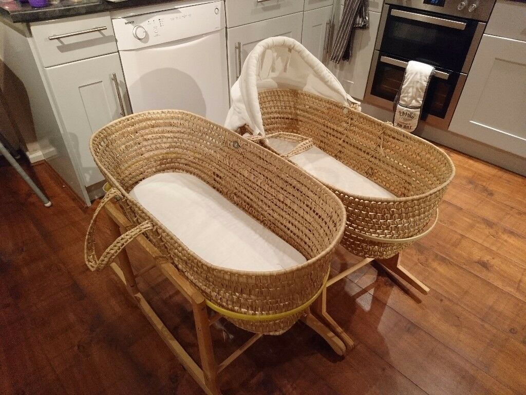 2 x wicker Moses baskets with wooden stand