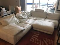 Ivory white leather corner sofa and pouffe - 280cm x 230cm - needs a good home