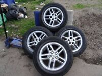 """set of 18"""" genuine rangerover alloys with matching gudyear tyres all round quick sale £280"""