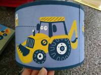 Digger lampshade and 4 canvas digger pictures