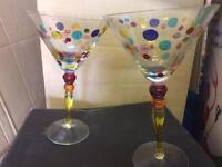 Set of designer cocktail and champagne glasses