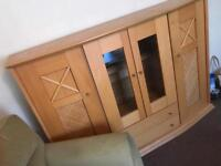 Solid wood cabinet with lighting
