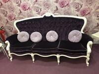 Purple velvet ornate chaise sofa and 2 x armchairs
